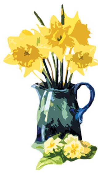 Bed and Breakfast daffodils vase